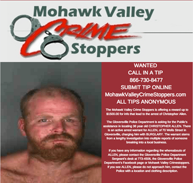 Gloversville Police Asking For Assistance In Locating Fugitive
