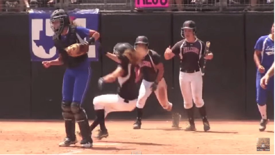 Catcher Gets Away With Two Separate Elbows At Home Plate