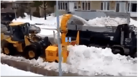 snow plower and dump truck