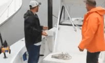 300 Pound Shark Jumps in Fishing Boat