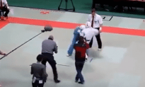 Karate Ref Takes Out Two Fighters