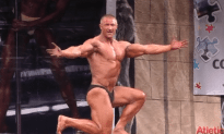 Russian Body Builder Cuts the Rug on Stage