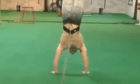 Hand Stand Walk With 90lbs Weight!