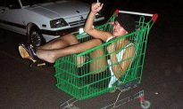 4pm Moment of Zen… Aaaaand we're done… Two chicks, shopping cart, huge face plant…