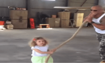 The Rock Lets A Little Girl Pull A Plane