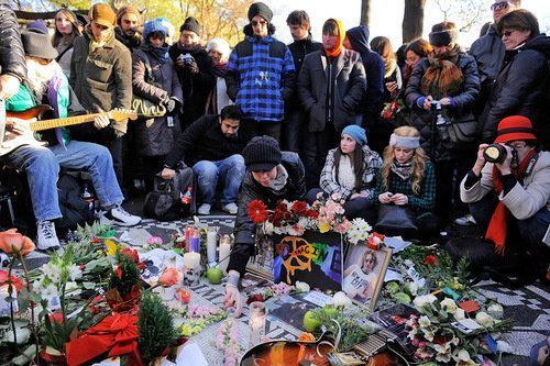 Beatles Fans Gathered At The Strawberry Fields In Central Park Today To Honor The Life Of John Lennon