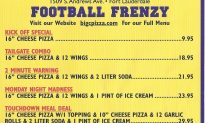Big C's Downtown Pizza Football Specials!!