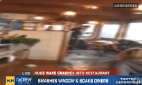 Huge Wave Destroys Inside Of Restaurant
